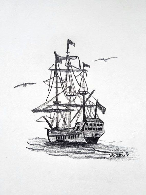 Original Graphite Schooner Sailboat Sailing Pirate Ship Sketch