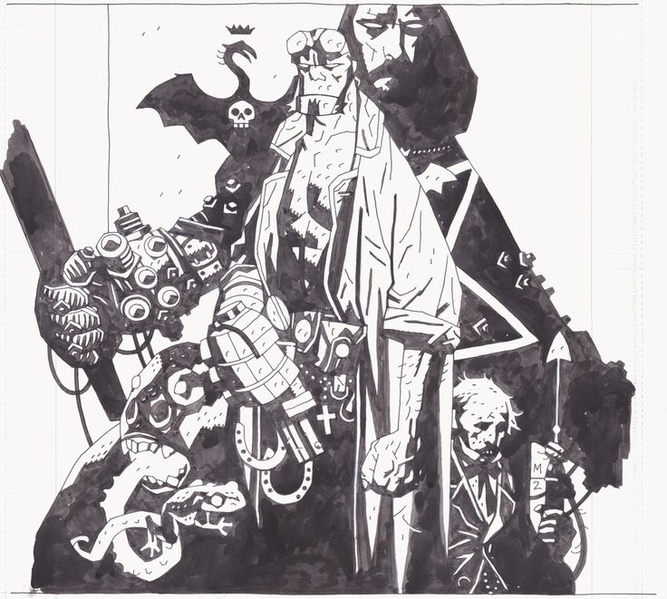 Hellboy #1 (cover) by Mike Mignola - Original art