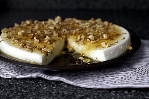 Yogurt Panna Cotta with Walnuts and Honey.