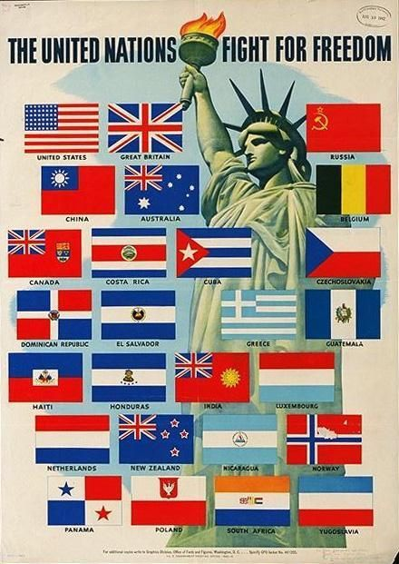 """26 countries commit to fighting the Fascist Axis until """"complete victory"""", declaring themselves """"the United Nations"""":"""
