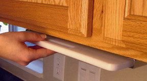 Store your cutting board under your cupboard and save precious cabinet space with this Pull Out Chopping Block. The Hide-Away Kit mounts beneath any kitchen cabinet 14inch or wider and provides an innovative way to store your kitchen board. The Pull Out Board features a steel frame that mounts beneath your cabinet wit