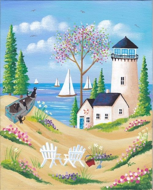 Captain and Crew Folk Art Print from Kim's Cottage Art on Etsy.  I love the whimsical cats on the boat!