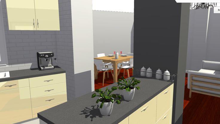 VIV.A vista desde cocina hacia salón comedor