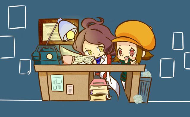 http://touch.pixiv.net/member.php?id=3564582  Lucy and Alfendi from The Layton Brothers: Mystery Room