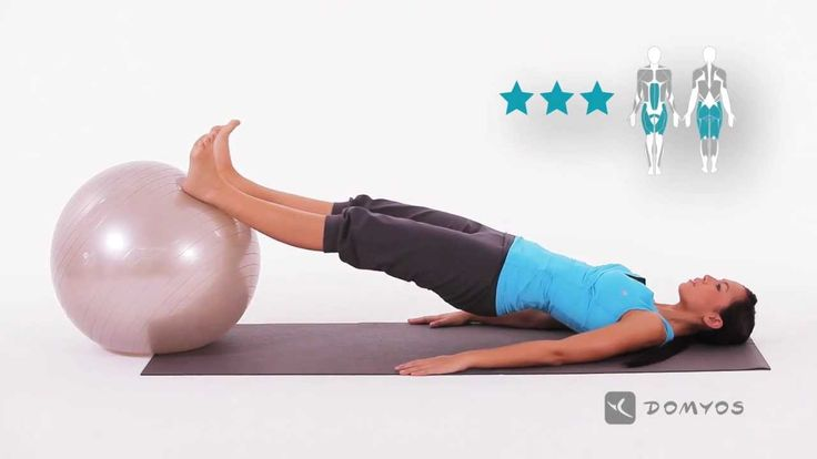 Exercice 6 tonification fessiers, lombaires - Gym Ball - Domyos