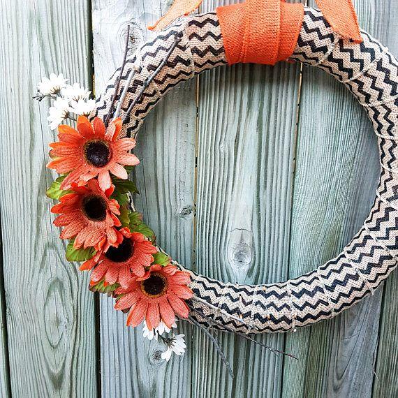 Fall Themed Daisy Burlap Wreath  Floral Chevron Burlap