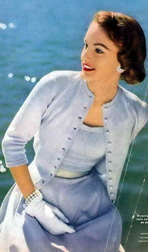 Twin sets need to come back in fashion, they were such a stylish way to wear knitwear.