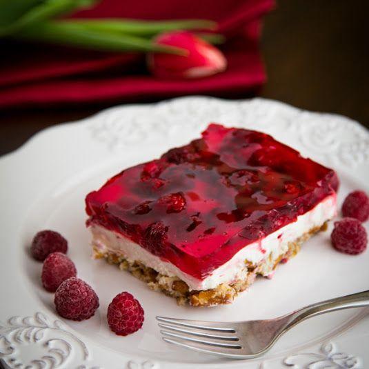 Raspberry Pretzel Jello Dessert