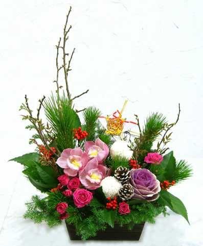 お正月用アレンジ ピンクのシンビジュウム 迎春アレンジ 年越し特集2014 正月 花 生花 安い,格安