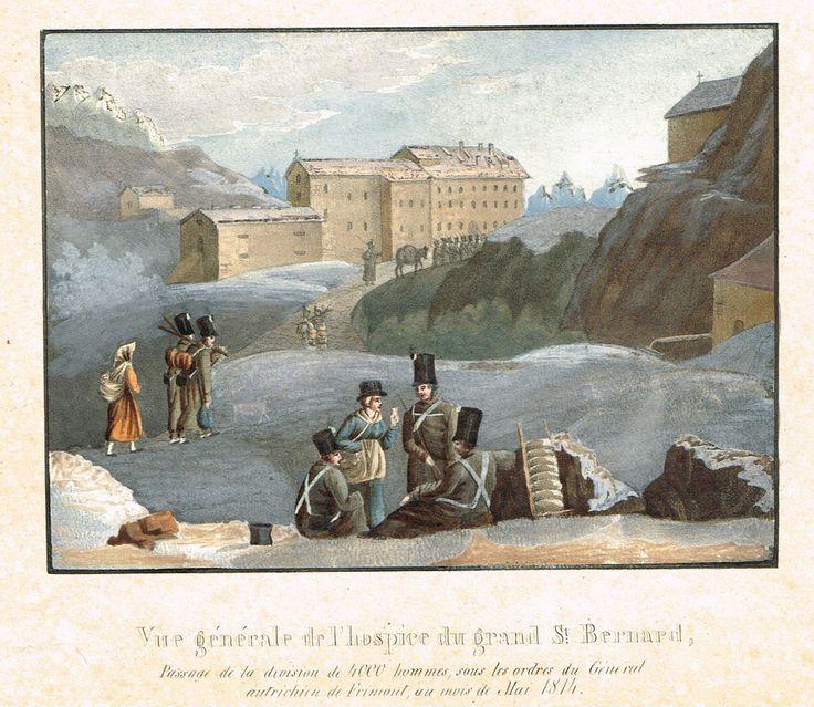 Vue générale de l'hospice du grand St Bernard, Passage de la division de 4000 hommes sous les ordres du Général autrichien de Frimont au mois de Mai 1814 - Aquatinte XIXe - MAS Estampes Anciennes - MAS Antique Prints