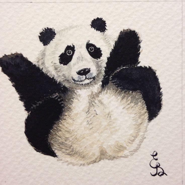 Watercolor painting panda bear