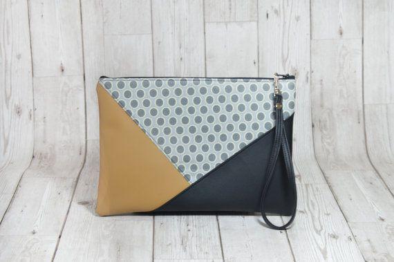 Bracelet en cuir pochette géométrique, Simple pochette enveloppe embrayage fait à la main sac aumônière de pochette en cuir Vegan, tissu embrayage tous les jours
