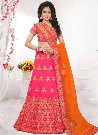 Pink Orange Embroidery Work Net Silk Designer Wedding Lehenga Choli http://www.angelnx.com/Lehenga-Choli/Designer-Lehenga-Choli