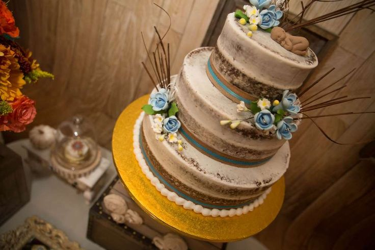 Loving this stunning rustic cake at this Vintage / Autumn Baby Shower!! See more party ideas and share yours at CatchMyParty.com
