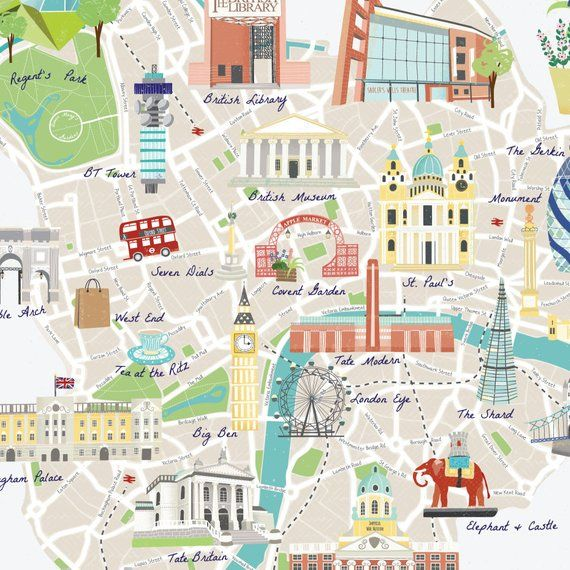 Illustrated Map Of London A2 A3 London Map Colourful Etsy In 2020 Illustrated Map London Map Elephant And Castle