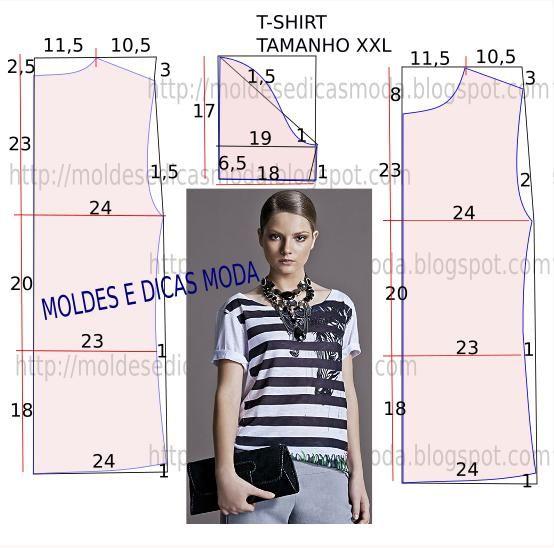 Molde de t-shirt fácil de fazer, moldes de roupa com medidas