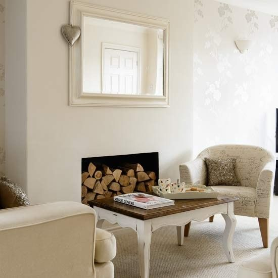 Fireplace with logs | Inexpensive living room ideas | Living room | PHOTO GALLERY | Style at Home | Housetohome.co.uk