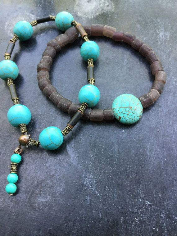 30% OFF for the first 20: Women bracelet  duo – Turquoise beaded bracelet – Indonesian  Glass beads + antique brass beads.