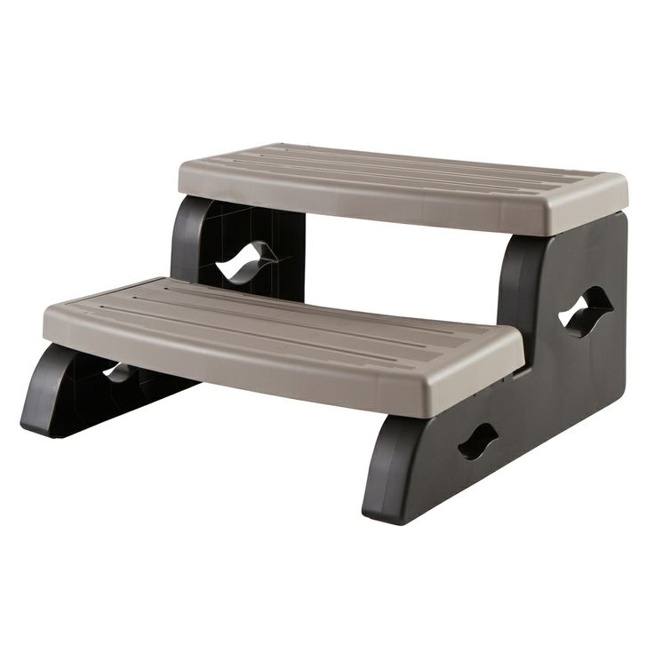 Durastep Coastal Grey Two-Tier Spa Steps. Strong, Light, Slip-Resistant, without the hassles of wooden steps. http://spastore.com.au/durastep-2-spa-steps-coastal-grey/ #pool #spa #spapool #swimspa