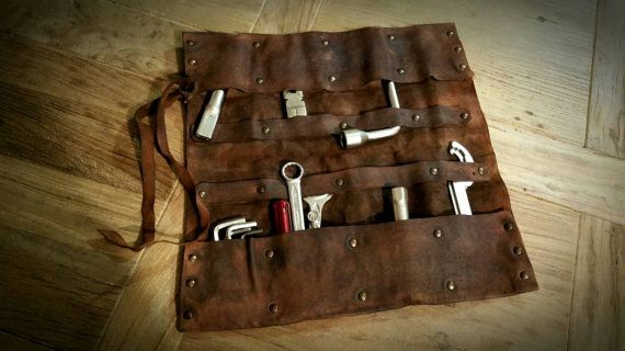 Leather Tool roll Gear bag for Cafe Racer and Scrambler. COD 09