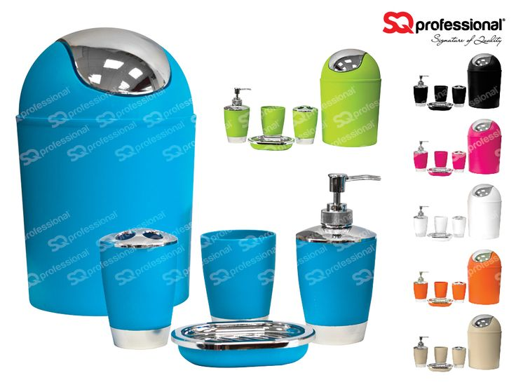 BATHROOM ACCESSORY SET 5pc - You asked for more bathroom accessory sets and we listened - they're back! Now with new bold and exciting colours! A contemporary bathroom set in eye catching colours will bring character and life to any bathroom. The set comprises of: 3 L waste bin | Soap dish | Soap dispenser | Toothbrush holder | A rinse cup. These are going fast so catch them while you can! #bathroom #accessory #blue #black #white #green #orange #cream #pink #special #deal #sqprofessional