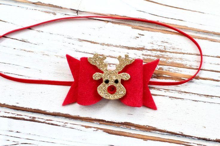Christmas Bow Headband - Red Bow Headband - Felt Bow Headband - Christmas Baby Bow - Glitter Bow Headband by AvaBowtiquee on Etsy