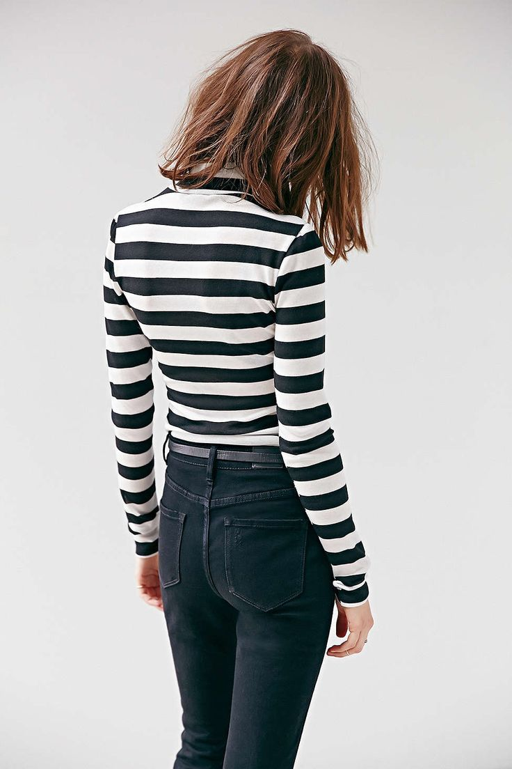 Striped Shirt and Skinny Black Jeans