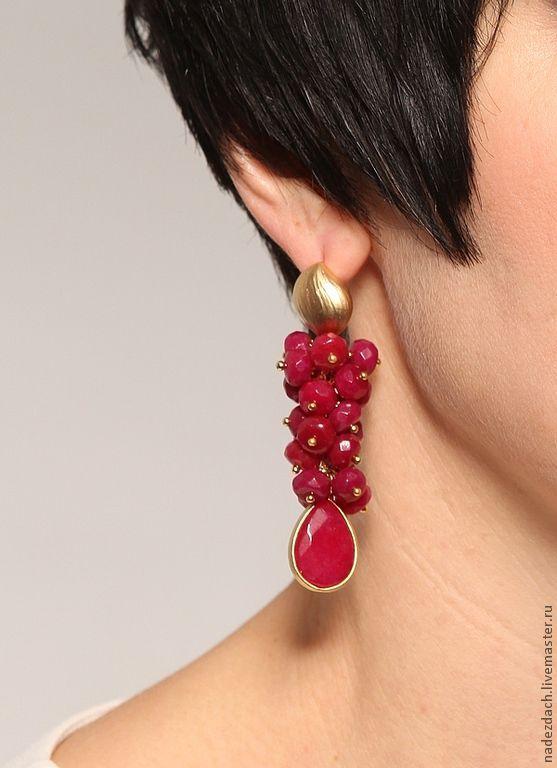 """Купить Серьги """"Рубиновые"""" - рубин, рубиновые серьги, красивые серьги, позолоченная фурнитура"""