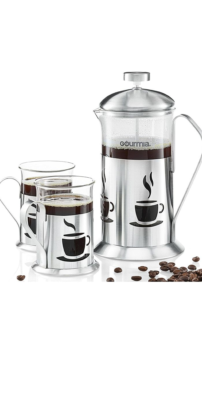 Bed bath beyond french press - Coffee Maker Set Includes 600 Ml Decorative French Press Coffee Brewer With 2 Matching Stainless Steel
