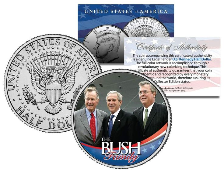 BUSH FAMILY * George HW W & Jeb * Colorized JFK Kennedy Half Dollar U.S. Coin