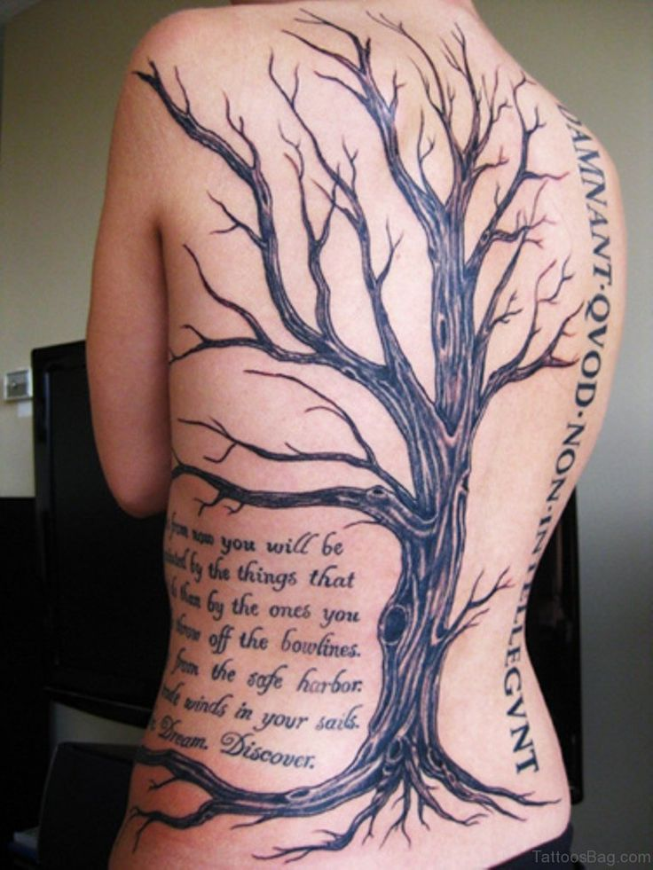Wording And Tree Tattoo On Back