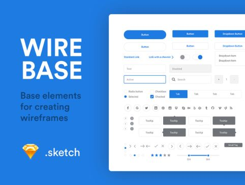A set of basic elements for creating elegant wireframes. Crafted by <a href=https://dribbble.com/shots/2700442-Wirebase>Patryk Zabielski</a>.