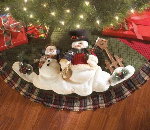 Snowman Christmas Tree Skirt with Green Background  http://barnaclebill.hubpages.com/hub/snowmantreeskirt