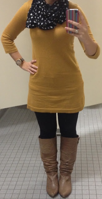 mustard tunic and heart scarf.