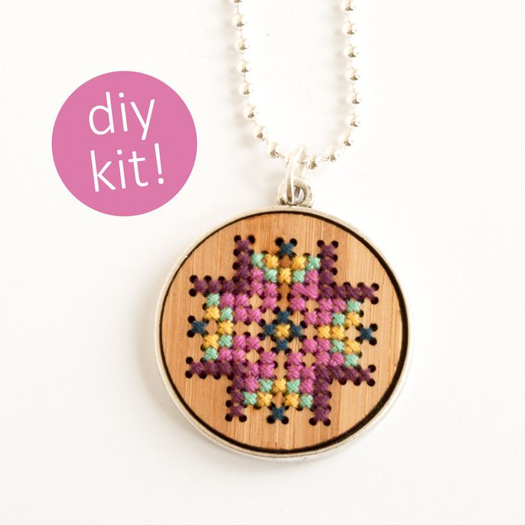 DIY Cross Stitch Jewelry // Embroidered Wood Necklace in Silver Frame // DIY Kit by RedGateStitchery on Etsy