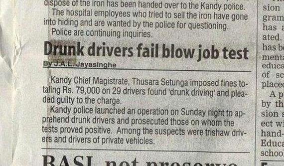 """""""Motoristas bêbados falham no teste de chupar..."""" Que policiaisexigentes!"""