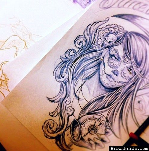Day of the Dead  pin up art | Day of the Dead Art (concept art) | Tatted Up