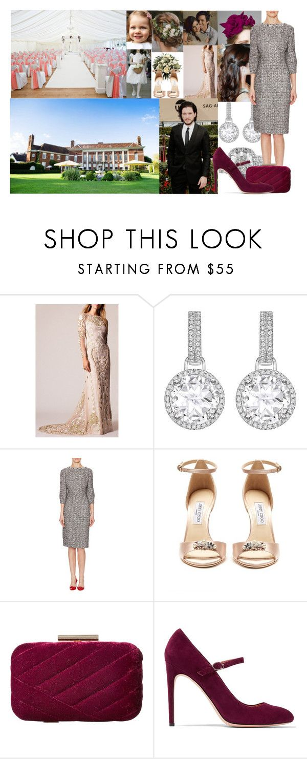 """Attending the wedding of Amy Allen & Ian Ward at Parklands, Quendon Hall in Essex"" by alexandraofwales ❤ liked on Polyvore featuring Temperley London, Kiki mcdonough, Rachel Trevor-Morgan, Oscar de la Renta, Jimmy Choo, Jessica McClintock and Halston Heritage"