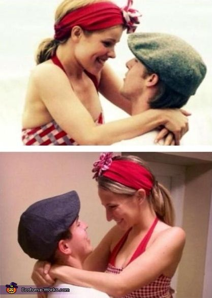 The real scene from the movie, and our costume. The Notebook Noah and Allie - Homemade costumes for couples