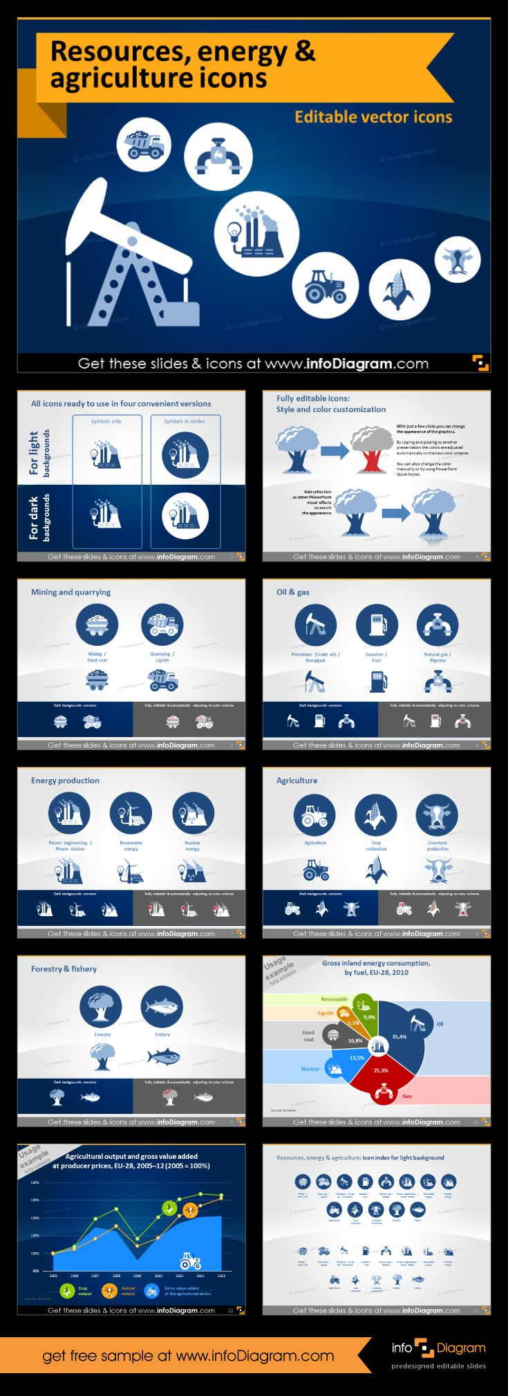 Top notch icons for PowerPoint with resources icons, oil, coal, nuclear, water, mining, agriculture and more. Use these clip arts to create amazing and top quality #presentations. Your slides will be done within minutes, you can change color, size without losing quality. #template #resources #oil #mining.