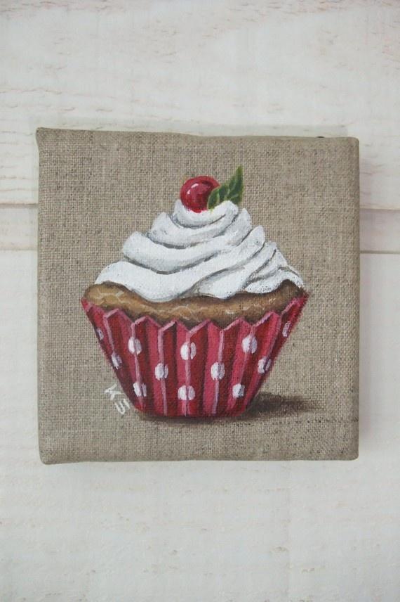 Tableau Peinture Cupcake rouge (n°6)