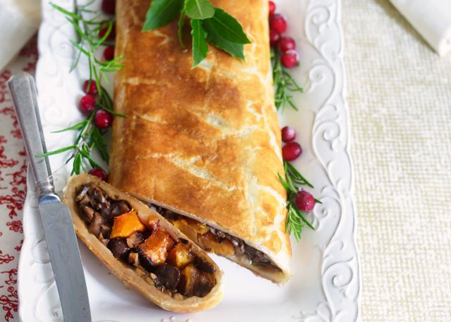 Vegetarian Wellington with Scrumptious Squash, Chestnuts and Cranberries prima.co.uk