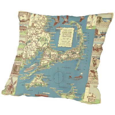 "East Urban Home Colonial Craftsman Decorative Map of Cape Cod Throw Pillow Size: 20"" H x 20"" W x 2"" D"