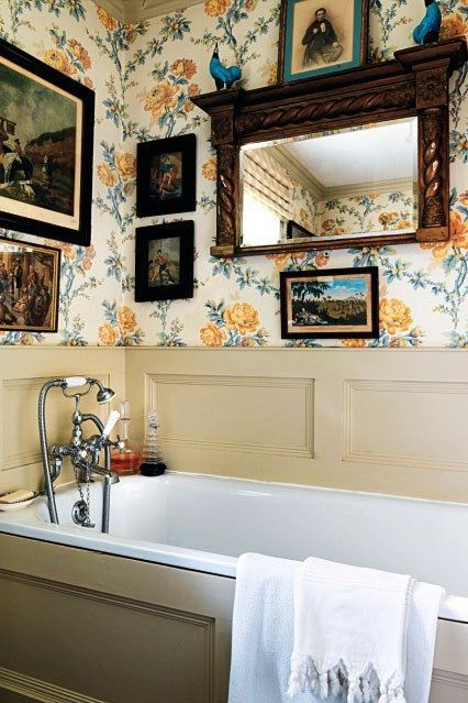 "this English bath is papered with Colefax & Fowler discontinued design ""Rameau Fleurie"""