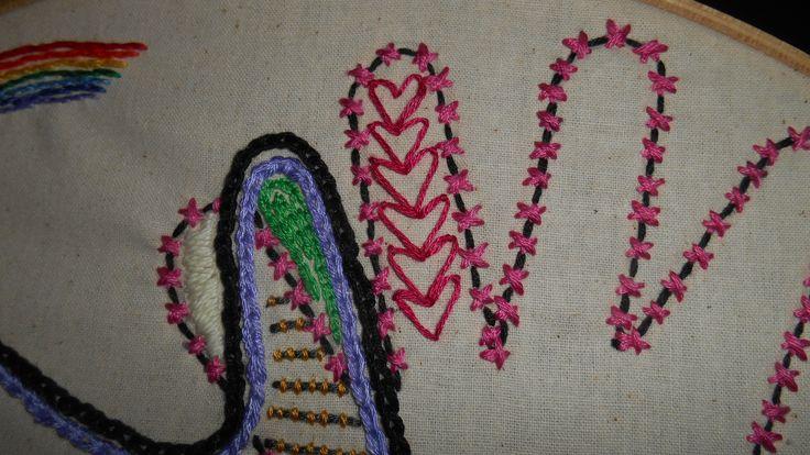 Day 29  Pink Heart chain stitch