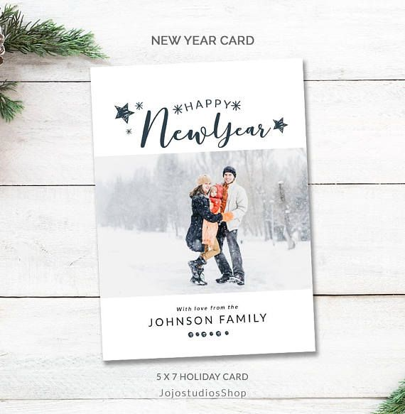 2020 New Year Card Template Holiday Card Photo Happy New Etsy New Year Card Happy New Year Cards Holiday Card Template