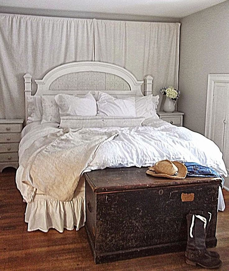 1000 images about bedrooms on pinterest white iron beds for Rustic farmhouse bedroom