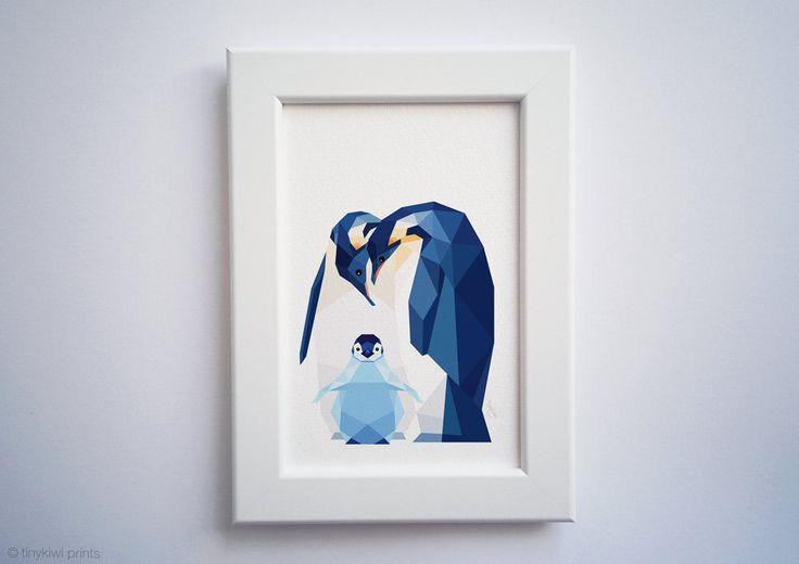 Penguin print, Penguin baby, Nursery art, Animal family art, Baby nursery decor, Geometric print, Baby animals, Antarctic, Cute baby room by tinykiwiPrints on Etsy