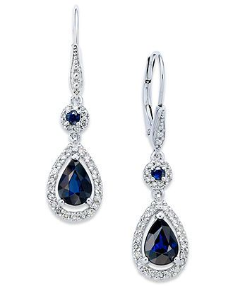 14k White Gold Earrings, Sapphire (1-3/4 ct. t.w.) and Diamond (1/3 ct. t.w.) Drop Earrings - Earrings - Jewelry & Watches - Macy's