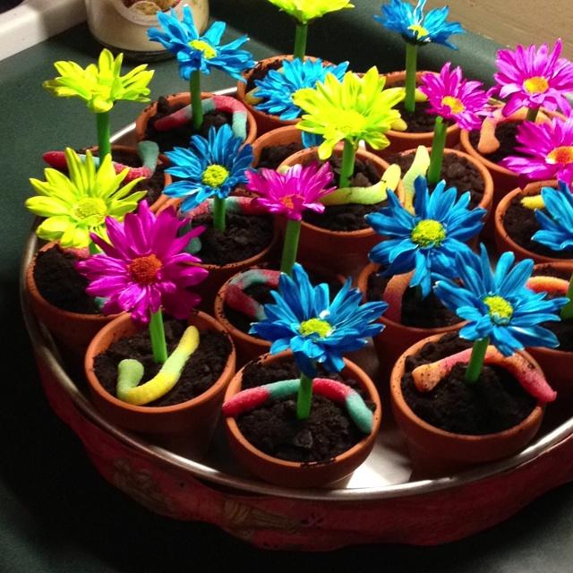 Edible flower pots!  Cute birthday party idea...dirt cake